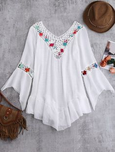 SHARE & Get it FREE | Bell Sleeve Crochet Flower Beach Cover-Up - WhiteFor Fashion Lovers only:80,000+ Items • New Arrivals Daily Join Zaful: Get YOUR $50 NOW!