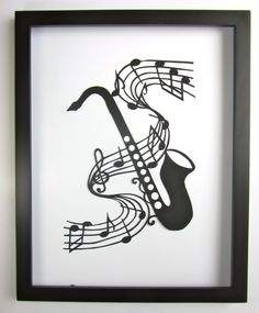 Saxophone and Music Notes GRADUATION Gift Black by BoldFolds