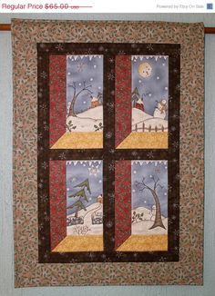 CYBER SALE Quilted Whimsical Snowman Wall by RedNeedleQuilts