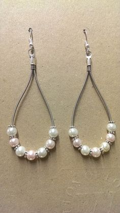 Pearl Guitar String Earrings