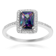 Journee Collection Sterling Mystic Cubic Zirconia Rectangle Ring