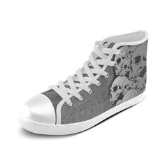 Custom Cool Design Skull Pattern Print Design High Top Canvas Shoes for Women(Model002)