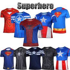 Marvel Superhero T-Shirt Avengers Costume Casual Tops Bike Running Jersey Tee #Unbranded