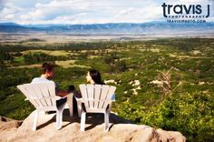 Outdoor Colorado Mountain top engagement shoot with chairs. Travis J Photography, Colorado