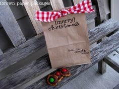 Paper Sack Gift Bags are easy to make, inexpensive, and are a darling way to package holiday treats and gifts! Merry Christmas Love, Christmas Bags, Christmas Paper, Christmas Goodies, Christmas Wrapping, Christmas Holidays, Christmas Neighbor, Neighbor Gifts, Christmas Recipes