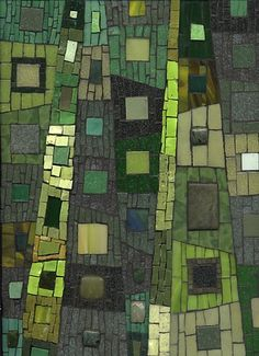 "Spring Forest by Ilona Fried (2010)  Mosaic, 9"" X 12"" Smalti, vitreous tile, unglazed ceramic, stained glass, beads via Maplestone Gallery ~ Contemporary Mosaic Art"