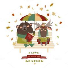 Cute bear and funny elk reading book by masastarus on @creativemarket https://crmrkt.com/eR7kx
