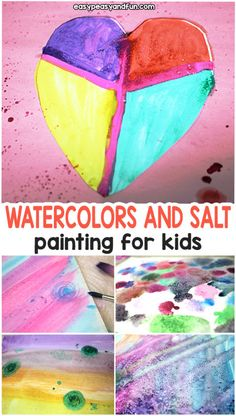 """Fiction Week[[caption id="""""""" align=""""aligncenter"""" With Watercolors and Salt - Easy Peasy and Fun - salt finger painting Valentine Crafts For Kids, Valentines Day Activities, Crafts For Kids To Make, Fun Crafts, Art For Kids, Activities For Kids, Arts And Crafts, Acrylic Painting For Beginners, Painting For Kids"""