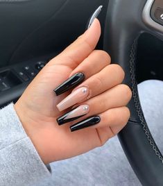 Do you have a crush on long nails? Then enjoy the most beautiful long nail ideas we have for you. Coffin nails, stiletto nails, and almond nails all have beautiful designs in this article. Stiletto The Most Beautiful Long Nails Idea 2019 Black Acrylic Nails, Black Coffin Nails, Best Acrylic Nails, Black And Nude Nails, Long Black Nails, Cute Black Nails, Long Almond Nails, Black Acrylics, Acrylic Art