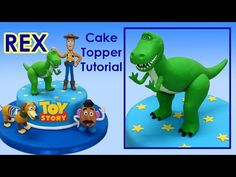 In this video we will teach you how to make Mickey Mouse Clubhouse with gum… Dinosaur Cake Tutorial, Dinosaur Cake Toppers, Fondant Cake Tutorial, Cake Topper Tutorial, Fondant Cupcake Toppers, Toy Story Birthday Cake, Dinosaur Birthday Cakes, Toy Story Party, Dinosaur Party