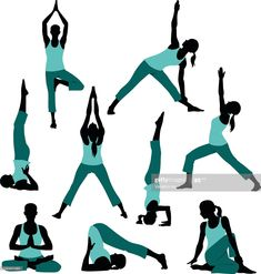 stock illustration : Silhouettes of Yoga Postures