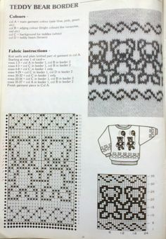 Knitting Machine Patterns, Knitting Stiches, Knitting Charts, Baby Knitting, Fair Isle Chart, Fair Isle Pattern, Crochet Bear, Filet Crochet, Knitting Designs