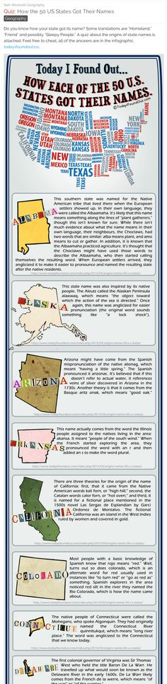 How the 50 US States Got Their Names - Here's a fun online quiz that you can use with your students. Post it to a private audience by using email addresses. #history #geography #socialstudies