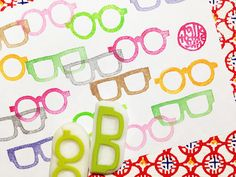 eye glasses rubber stamps. eyewear hand carved stamps. mr&mrs
