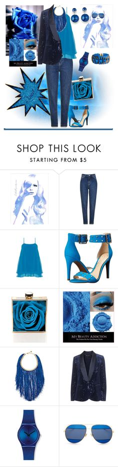 """50 shades of blue!"" by rima1205 on Polyvore featuring moda, Topshop, Manon Baptiste, Jessica Simpson, Rosantica, Barbara Schwarzer, Swatch, Christian Dior y Dsquared2"