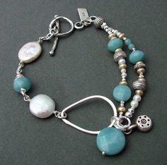 Sterling, amazonite and white/tan pearl bracelet.  Toggle closure. 7.5L