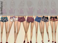 The Sims Resource: Floral Panel Denim Shorts by melisa_inci • Sims 4 Downloads