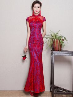 Sculpting Lace Fishtail Qipao / Cheongsam Wedding Dress                                                                                                                                                                                 More