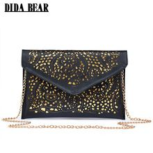 85992a674313 2017 Retro style hollow out PU leather Day Clutches vintage Clutch bags  brand design women bags fashion women messenger bags