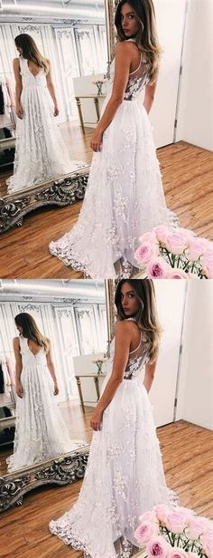 A-line White Lace V-neck Sleeveless Evening Prom Dresses With Sweep Train Lace Prom Dress, V-neck Prom Dress, Prom Dress White, A-Line Evening Dresses, Prom Dress Prom Dresses Long Ivory Prom Dresses, V Neck Prom Dresses, V Neck Wedding Dress, Prom Dresses 2018, A Line Prom Dresses, Cheap Prom Dresses, White Wedding Dresses, Cheap Wedding Dress, Evening Dresses