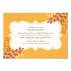 Wedding Invitation | Autumn Leaf Frame Click on photo to purchase. Check out all current coupon offers and save! http://www.zazzle.com/coupons?rf=238785193994622463&tc=pin