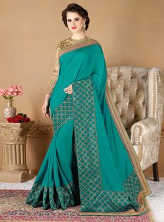 Teal Silk Saree With Embroidered Blouse 121417