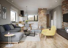 Projekt domu Murator C333j Miarodajny - wariant X 86,6 m2 - koszt budowy 174 tys. zł - EXTRADOM Elegant Living Room, Living Room White, Living Room Colors, Small Living Rooms, Living Room Designs, Small Studio Apartment Design, Home Room Design, Dream Home Design, House Design