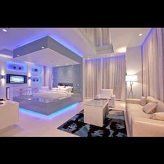 Love this Futuristic Bedroom Design Cute Bedroom Ideas, Room Ideas Bedroom, Awesome Bedrooms, Bedroom Decor, Bedroom Lighting, Nice Bedrooms, Coolest Bedrooms, Design Bedroom, Led Bedroom Lights
