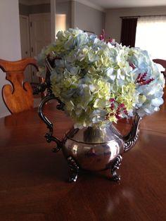 Cheapest flower arrangement in a vintage silver coffee pot