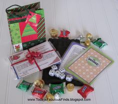 Neighbor Gift Idea: Game Night in a Bag!  Includes simple and fun dice game, popcorn and caramel recipe, and candy.  So stinkin' cute and inexpensive!