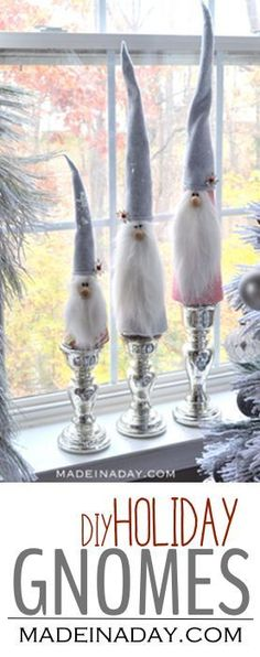 Easy Holiday Gnomes tutorial on madeinaday.com #gnome #gnomes #christmas