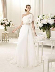 Awesome A line One Shoulder Beaded Waistband Drape Chiffon Wedding Dress wa