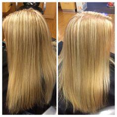 Platinum highlights over blonde base