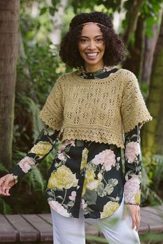 The puckish Goodfellow Top is worked in several different directions from beginning to end. The border lace is worked flat and joined; the body, which features lace and slip stitches, is picked up and knit; and the lace bands on the sleeves are attached perpendicularly and grafted. Layer this top with a floral shirt or a simple silk camisole for a breezy summer look. Find the pattern in the Shakespeare Issue of Interweave Knits: Summer 2017.