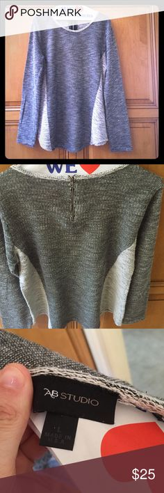 Gray Knit Bodycon Top w/ Zipper Worn 3 times, so great to wear with leggings! It's very soft, slimming & cozy! AB Studio Tops