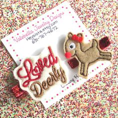 Hair clip Rudolph the Red Nosed Reindeer Christmas loved deerly deer hairclip set style girls baby kids glitter stocking stuffer gift topper by heysista on Etsy