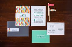 Modern Arrows, Chevron, and Hearts Wedding Invitation with Typography Design by Renee Nicole