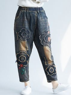 0e09cadf158 Floral Embroidered Patchwork Ripped Vintage Jeans is a trendy, Newchic  provides wide range of best cheap Denim & Jeans for you.