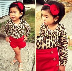 Toddler fashion Leopard/red LOVE