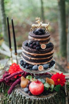 A moody and dark autumn forest wedding inspiration shoot in black, red and gold with seasonal elements by Artemis Photography. French Wedding Cakes, Berry Wedding Cake, Themed Wedding Cakes, Wedding Cake Rustic, Fall Wedding Cakes, Wedding Cake Decorations, Wedding Cake Toppers, Rustic Weddings, Autumn Wedding