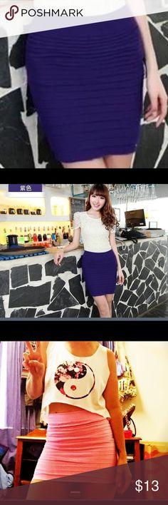 Purple pleated stretch bodycon skirt S: Length:36cm; Waist:54-94cm; peplum:66cm ( US 2-4) Skirts Mini