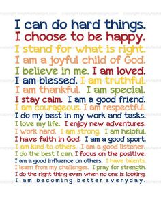 Daily Morning every kid should shout before leaving for school. This changes my kids days attitudes and mindset. They love their affirmations! Positive Affirmations For Kids, Positive Quotes For Life Happiness, Morning Affirmations, Daily Affirmations, Positive Thoughts, Quotes Positive, Christian Affirmations, Positive Discipline, Positive Words