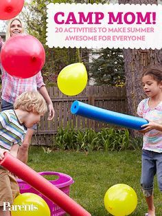 "Field Day Games For Kids Discover 25 Cheap Summer Activities for Kids Therell be no ""Im bored!"" whining this summer! Make a staycation as fun for your kids as a week of summer camp with these awesome (and cheap) activities. Summer Fun For Kids, Summer Games, Summer Activities For Kids, Free Activities, Camping Activities, Toddler Activities, Crafts For Kids, Camping Ideas, Camping Games For Kids"