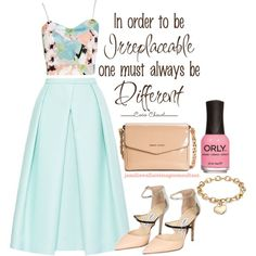A fashion look from July 2014 featuring Boohoo tops, TIBI skirts and Jimmy Choo pumps. Browse and shop related looks.
