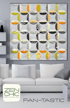 Zen Chic - Fan-Tastic - Quilt Pattern - FAQP. Could do this with orange peel template. Love!!!