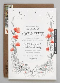 So awesome! - Poppy Invitation - by kat catmur | CHECK OUT MORE GREAT BLACK AND WHITE WEDDING IDEAS AT WEDDINGPINS.NET | #weddings #wedding #blackandwhitewedding #blackandwhiteweddingphotos #events #forweddings #iloveweddings #blackandwhite #romance #vintage #blackwedding #planners #whitewedding #ceremonyphotos #weddingphotos #weddingpictures