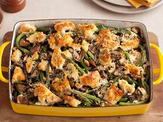 This was my hubby's fave dish at Thanksgiving this year. Green Bean Casserole recipe from Tyler Florence via Food Network Potluck Recipes, Side Dish Recipes, Cooking Recipes, Bean Recipes, Grill Recipes, Chef Recipes, Delicious Recipes, Yummy Food, Green Bean Casserole