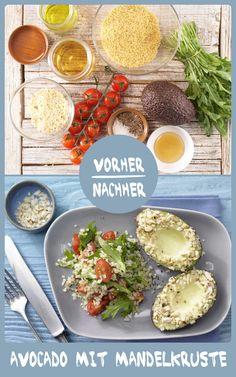 http://eatsmarter.de/rezepte/avocado-mandelkruste Weiche Avocado trifft auf knackige Mandeln. Dieses Gericht mit Bulgur-Salat schmeckt und ist auch noch gesund, denn Avocado enthält viele gesunde  Fette, die für unseren Körper sehr wichtig sind.