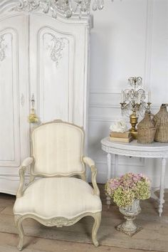 Antique French Arm Chair in Stripe Silk by FullBloomCottage, $558.00