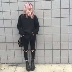 grunge, girl, and black afbeelding